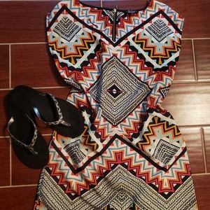 Silk Geometric Print Dress